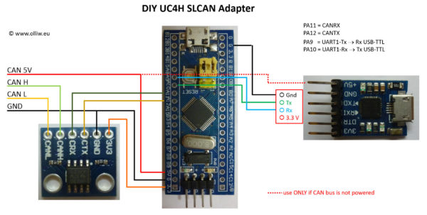 uc4h slcan adapter diy olliw